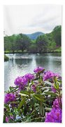 Rhododendron Blossoms And Mountain Pond Beach Towel