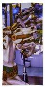 Ride The Wild Carrousel Horses Beach Towel