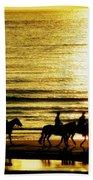 Rider Silhouettes Against The Sea Beach Towel