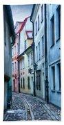 Riga Narrow Street Painting Beach Towel
