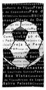 Rio De Janeiro In Words Black Soccer Beach Towel