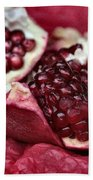 Ripe Red Pomegranate Close Up Beach Towel