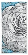 Ritzy Rose With Ink And Blue Background Beach Towel