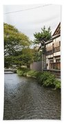 River And Houses In Kyoto Japan Beach Towel