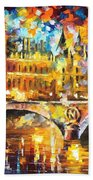 River City - Palette Knife Oil Painting On Canvas By Leonid Afremov Beach Towel