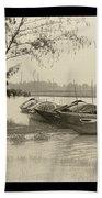 River Fishing Boats In Hoi An Beach Towel