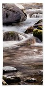 River Flowing Over Rocks Beach Towel