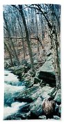 River Flowing Through A Valley, Hudson Beach Towel