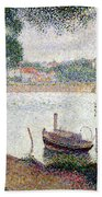 River Landscape With A Boat Beach Towel by Georges Pierre Seurat
