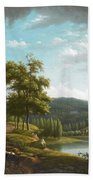 River Landscape With Farmhouse Beach Towel