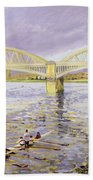 River Thames At Barnes Beach Towel by Sarah Butterfield
