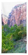 River Walk In Zion Canyon In Zion Np-ut Beach Towel