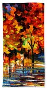 Rivershore Park - Palette Knife Oil Painting On Canvas By Leonid Afremov Beach Towel