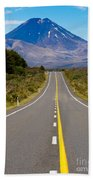 Road Leading To Active Volcanoe Mt Ngauruhoe In Nz Beach Towel
