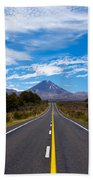Road Leading To Active Volcanoe Mt Ngauruhoe Nz Beach Towel