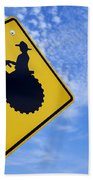 Road Sign Tractor Crossing Beach Towel
