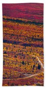 Road Through Fall Colored Tundra Beach Towel