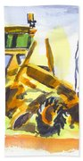 Roadmaster Tractor In Watercolor Beach Towel by Kip DeVore