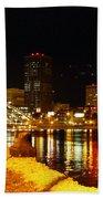 Rochester At Night Beach Sheet