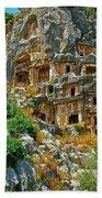 Rock-carved Tombs In Myra-turkey Beach Towel
