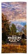 Rock City Barn Beach Towel by Debra and Dave Vanderlaan