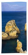 Rock Formations In The Sea, Algarve Beach Towel