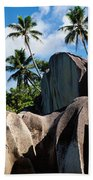 Rock Formations On The Beach, Anse Beach Towel