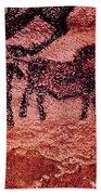 Rock Painting Of Tarpans Ponies, C.17000 Bc Cave Painting Beach Towel