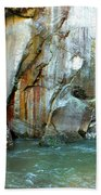 Rock Wall And River Beach Towel