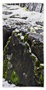 Rock Wall With Moss And A Dusting Of Snow Art Prints Beach Towel