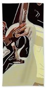 Rockabilly Electric Guitar Player  Beach Towel by Tommytechno Sweden