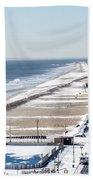 Rockaway Beach During Arctic Vortex Beach Towel