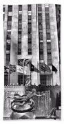 Rockefeller Center Black And White Beach Towel