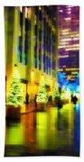 Rockefeller Center Christmas Trees - Holiday And Christmas Card Beach Towel