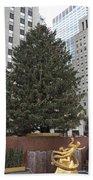 Rockefeller Christmas Tree Beach Towel