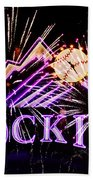 Rockies And Fireworks Beach Towel