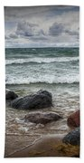 Rocks And Waves At Wilderness Park In Sturgeon Bay Beach Towel