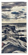 Rocks At Cape May Beach Towel