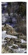 Rocks In Snow Beach Towel