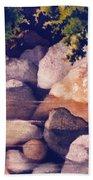 Rocks In Stream Beach Towel