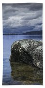 Rocks In The Water On A Lake In Acadia National Park Beach Sheet