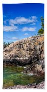 Rocky Coast And Clear Water Of Lake Superior Beach Towel