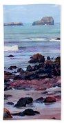 Rocky Coast Off San Simeon Beach Towel