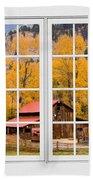 Rocky Mountain Autumn Ranch White Window View Beach Towel