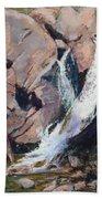 Rocky Mountain Cascade Beach Towel by Mary Benke