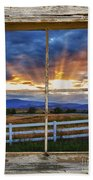 Rocky Mountain Country Beams Of Sunlight Rustic Window Frame Beach Towel