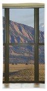 Rocky Mountains Flatirons With Snow Longs Peak Bay Window View Beach Towel