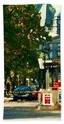 Roddick Gates Painting Mcgill University Art Students Stroll The Grand Montreal Campus C Spandau Beach Towel