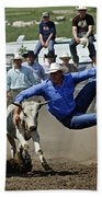 Rodeo Steer Wrestling Beach Towel