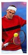 Roger Federer The Swiss Maestro Beach Towel